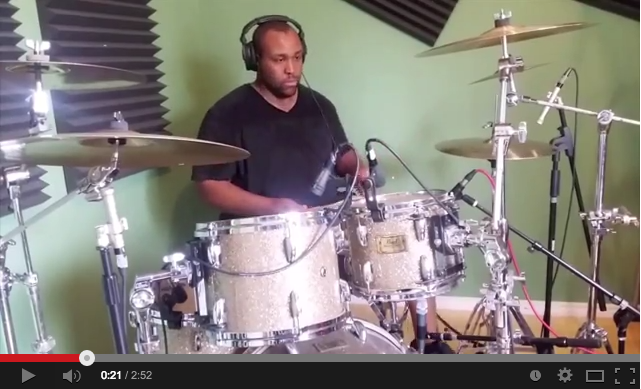 Jason Meekins tracking drums at home